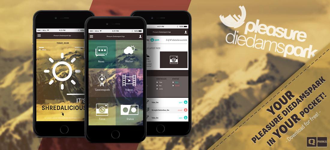 Dein Pleasure Diedamspark in deiner Tasche – Die neue App für Snowboarder und Freeskier