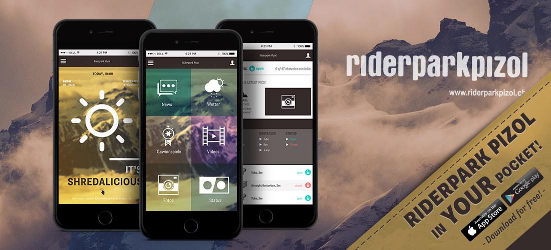 Dein Riderpark Pizol in deiner Tasche – Die Snowpark App für Snowboarder und Freeskier