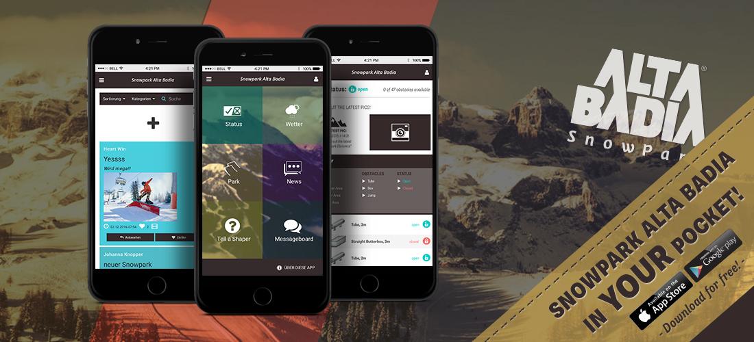 Dein Snowpark Alta Badia in deiner Tasche – Mit der neuen App für Snowboarder und Freeskier bist du immer am Start