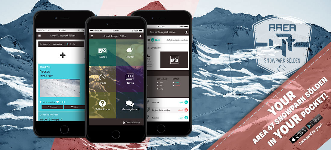 Your AREA 47 Snowpark Sölden In Your Pocket – the App For Android and iOS