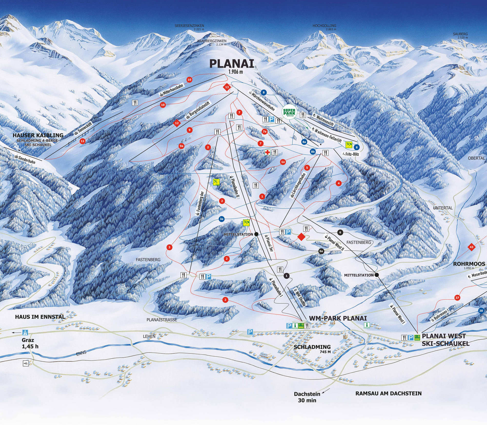 planai map snowpark website